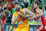 """Marc Gasol of Spain in action during European basketball championship """"Eurobasket 2013""""  basketball game for 3rd place between Spain and Croatia in Stozice Arena in Ljubljana, Slovenia, on September 22. 2013. (credit: Pedja Milosavljevic  / thepedja@gmail.com / +381641260959)"""