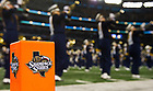 Oct. 5, 2013; The Notre Dame Marching Band takes the field at ATT Stadium.<br /> <br /> Photo by Matt Cashore