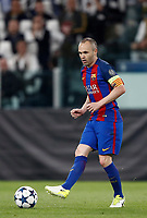 Football Soccer: UEFA Champions UEFA Champions League quarter final first leg Juventus-Barcellona, Juventus stadium, Turin, Italy, April 11, 2017. <br /> Barcellona's Andr&eacute;s Iniesta in action during the Uefa Champions League football match between Juventus and Barcelona at the Juventus stadium, on April 11 ,2017.<br /> UPDATE IMAGES PRESS/Isabella Bonotto