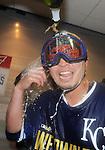Norichika Aoki (Royals),<br /> OCTOBER 15, 2014 - MLB : Norichika Aoki of the Kansas City Royals celebrates with champagne after winning the Major League Baseball American League championship series Game 4 at Kauffman Stadium in Kansas City, Missouri, USA. <br /> (Photo by AFLO)
