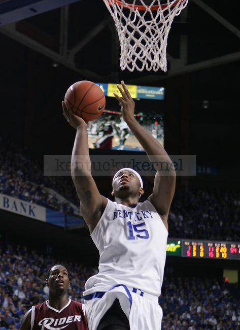 University of Kentucky freshman forward DeMarcus Cousins attempts a layup in the second half of UK's 92-63 win over Rider in Rupp Arena on Nov. 21, 2009...Photo by Ed Matthews | Staff