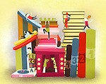 Illustrative image of children playing on books representing fun