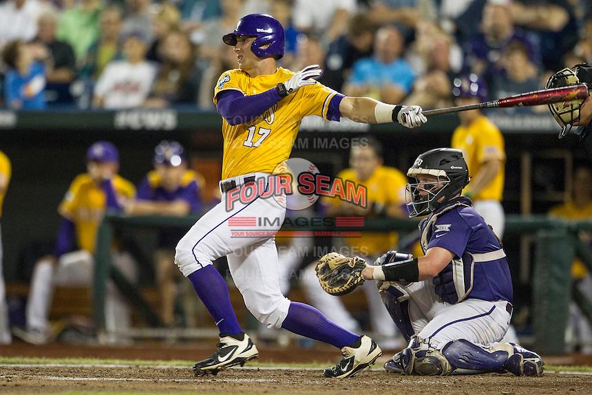 LSU Tigers second baseman Jared Foster (17) follows through on his swing against the TCU Horned Frogs in Game 10 of the NCAA College World Series on June 18, 2015 at TD Ameritrade Park in Omaha, Nebraska. TCU defeated the Tigers 8-4, eliminating LSU from the tournament. (Andrew Woolley/Four Seam Images)