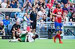 Stockholm 2014-07-20 Fotboll Superettan Hammarby IF - &Ouml;sters IF :  <br /> Hammarbys Pablo Pinones-Arce har ont efter en n&auml;rkamp och dr&ouml;jer sig kvar liggandes p&aring; planen<br /> (Foto: Kenta J&ouml;nsson) Nyckelord:  Superettan Tele2 Arena Hammarby HIF Bajen &Ouml;ster &Ouml;IF skada skadan ont sm&auml;rta injury pain