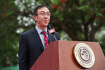 Hong Kong Tennis Association President Philip Mok gives a speech during the Press conference for the opening of Boris Becker Tennis Academy at Mission Hills Resort on 19 March 2016, in Shenzhen, China. Photo by Lucas Schifres / Power Sport Images