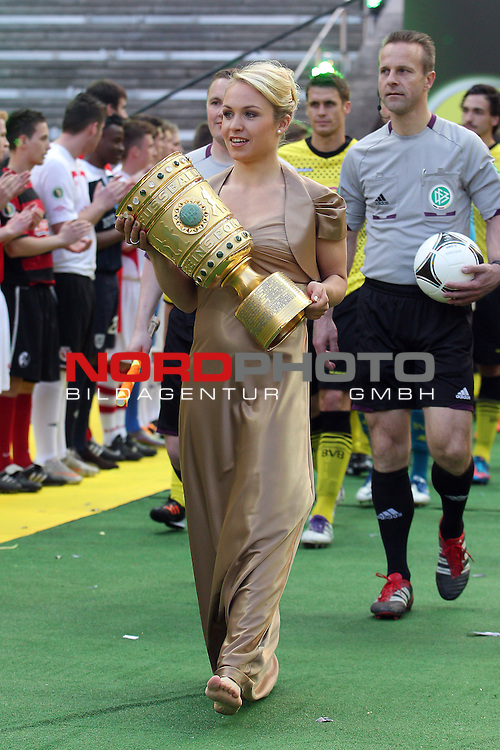 12.05.2012, Olympia Stadion, Berlin, Borussia Dortmund vs Bayern Muenchen, im Bild <br /> Magdalena Neuner bringt den DFB Pokal ins Stadion<br /> <br /> // during the DFB Cup final Match Borussia Dortmund vs Bayern Muenchen, Olympia Stadion, Berlin, Germany, on 2012/05/12, Foto &copy; nph / Mueller *** Local Caption ***