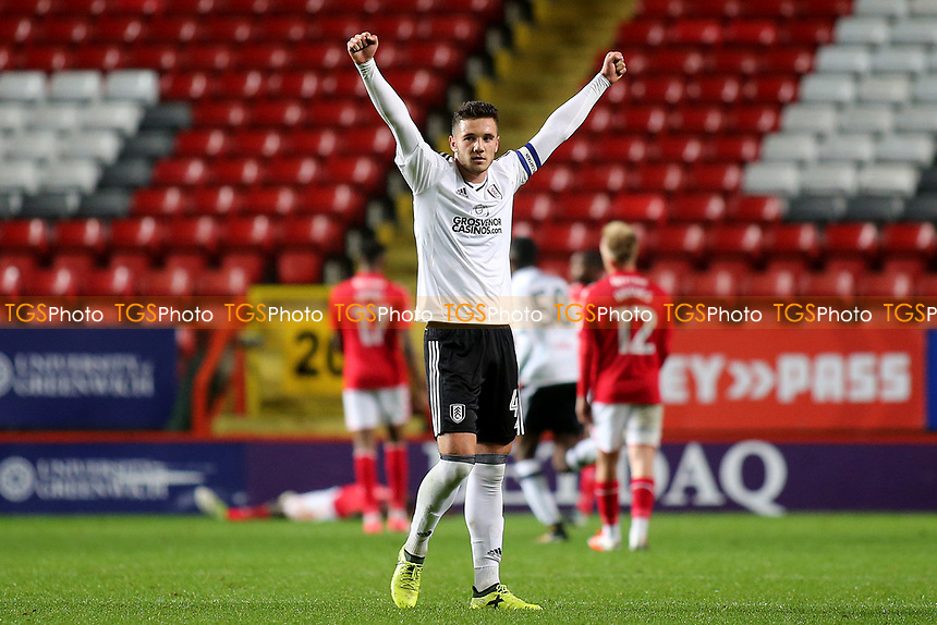 Fulham captain, Aron Davies, celebrates their second goal during Charlton Athletic vs Fulham Under-21, Checkatrade Trophy Football at The Valley on 1st November 2017
