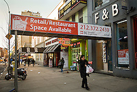 The former F&B Gudtfood in the New York neighborhood of Chelsea is seen on Monday, January 18, 2010.  The fast food restaurant closed in December 2009 and the space is now a vacant storefront. (© Richard B. Levine)