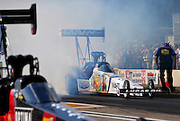 Aug. 16, 2013; Brainerd, MN, USA: NHRA top fuel dragster driver Brandon Bernstein during qualifying for the Lucas Oil Nationals at Brainerd International Raceway. Mandatory Credit: Mark J. Rebilas-