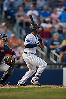 Trenton Thunder Isiah Gilliam (24) bats during an Eastern League game against the New Hampshire Fisher Cats on August 20, 2019 at Arm & Hammer Park in Trenton, New Jersey.  New Hampshire defeated Trenton 7-2.  (Mike Janes/Four Seam Images)