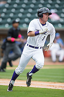 Jake Peter (3) of the Winston-Salem Dash hustles down the first base line against the Myrtle Beach Pelicans at BB&T Ballpark on May 10, 2015 in Winston-Salem, North Carolina.  The Pelicans defeated the Dash 4-3.  (Brian Westerholt/Four Seam Images)