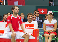 Switserland, Genève, September 20, 2015, Tennis,   Davis Cup, Switserland-Netherlands, Roger Federer watching the last match betweenHenri Laaksonen (SUI) and Tim van Rijthoven<br /> Photo: Tennisimages/Henk Koster