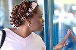 African American woman window shopping