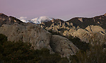 Idaho, South central, Almo. Cache peak and City of Rocks at sunset in Spring.