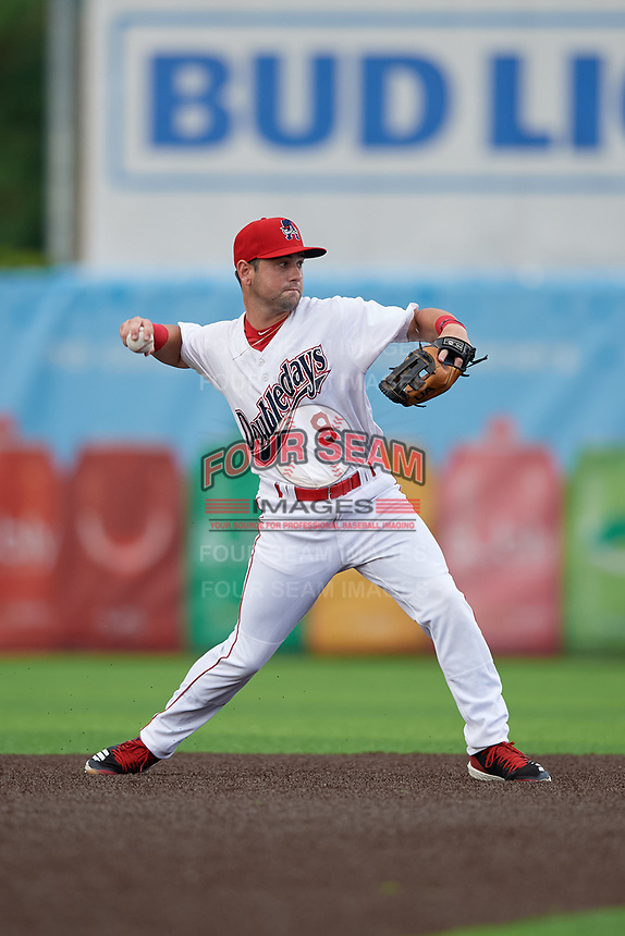 Auburn Doubledays second baseman Jake Alu (9) throws to first base during a NY-Penn League game against the Connecticut Tigers on July 12, 2019 at Falcon Park in Auburn, New York.  Auburn defeated Connecticut 7-5.  (Mike Janes/Four Seam Images)