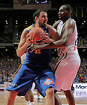 Asefa Estudiantes' German Gabriel (l) and Real Madrid's D'or Fischer during ACB match.September 30,2010. (ALTERPHOTOS/Acero)