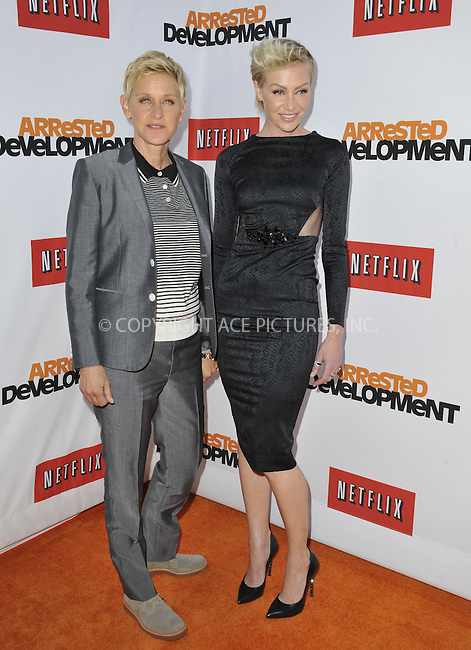 WWW.ACEPIXS.COM....April 29 2013, LA....Ellen DeGeneres and Portia de Rossi arriving at the Netflix's Los Angeles Premiere Of 'Arrested Development' Season 4 at TCL Chinese Theatre on April 29, 2013 in Hollywood, California.......By Line: Peter West/ACE Pictures......ACE Pictures, Inc...tel: 646 769 0430..Email: info@acepixs.com..www.acepixs.com