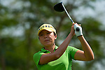 CHON BURI, THAILAND - FEBRUARY 19:  M.J. Hur of South Korea tees off on the 18th hole during day three of the LPGA Thailand at Siam Country Club on February 19, 2011 in Chon Buri, Thailand. Photo by Victor Fraile / The Power of Sport Images