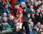 Jose Mourinho manager of Manchester United greets Jesse Lingard of Manchester United during the English Premier League match at Old Trafford Stadium, Manchester. Picture date: April 16th 2017. Pic credit should read: Simon Bellis/Sportimage