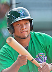 17 July 2013: Vermont Lake Monsters catcher Reynaldo Mateo takes bunting drills prior to a game against the Aberdeen Ironbirds at Centennial Field in Burlington, Vermont. The Lake Monsters fell to the Ironbirds 5-1 in NY Penn League action. Mandatory Credit: Ed Wolfstein Photo
