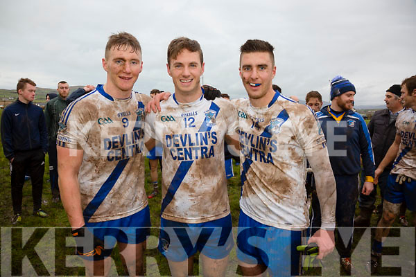 Happy faces of St Marys players Denis Daly, Paul O'Donoghue & Daniel Daly at the South Kerry Championship Final in Portmagee on St Stephens Day.