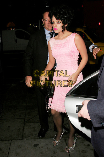 LILY ALLEN.Arriving to GQ Magazine 20th Anniversary Party, St. Alban restaurant, London, England, November 6th 2008..full length pink fringed tassels dress Chanel quilted black bag silver peep toe shoes bright pink lipstick tights curly hair .CAP/AH.©Adam Houghton/Capital Pictures