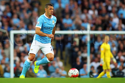 19.09.2015. Manchester, England. Barclays Premier League. Manchester City versus West Ham. Martín Demichelis of Manchester City  as Man City piles pressure on the West Ham defense int he second half