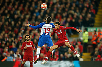 Alex Telles of FC Porto and Trent Alexander-Arnold of Liverpool in action during the UEFA Champions League Quarter Final first leg match between Liverpool and Porto at Anfield on April 9th 2019 in Liverpool, England. (Photo by Daniel Chesterton/phcimages.com)<br /> Foto PHC/Insidefoto <br /> ITALY ONLY