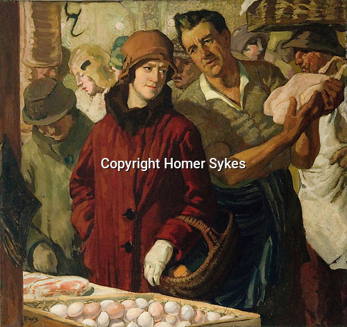 Herbert Budd. Woman in red coat with prosethic hand at farmers market chicken stall.