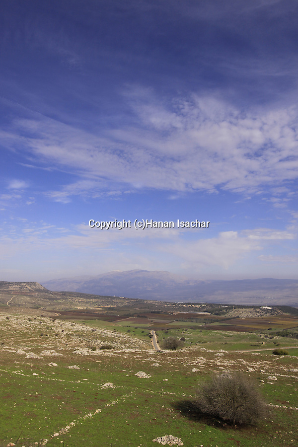 Israel, Upper Galilee, a view of Kadesh Valley from Road 899