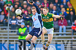 Philip Ryan Dublin gets to the ball ahead of Peter Crowley Kerry during Sunday League clash in Dublin