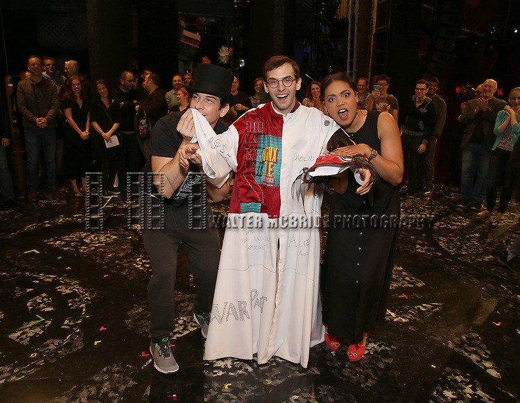 Andy Karl, Joseph Medeiros and Barrett Doss during the Actors' Equity Opening Night Gypsy Robe Ceremony honoring Joseph Medeiros for 'Groundhog Day' at the August Wilson Theatre on April 17, 2017 in New York City