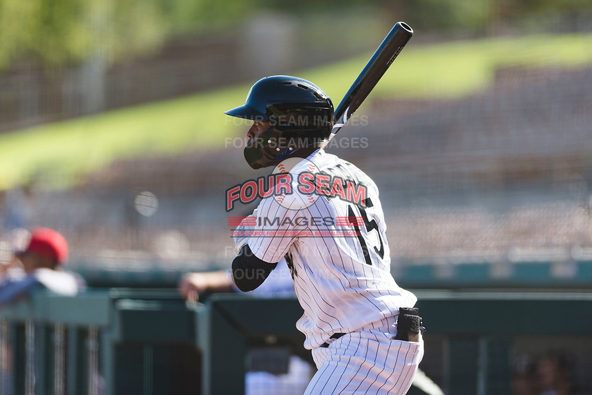 Glendale Desert Dogs center fielder Luis Alexander Basabe (15), of the Chicago White Sox organization, on deck during an Arizona Fall League game against the Scottsdale Scorpions at Camelback Ranch on October 16, 2018 in Glendale, Arizona. Scottsdale defeated Glendale 6-1. (Zachary Lucy/Four Seam Images)