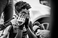 Thomas de Gendt (BEL/Lotto-Soudal) is mobbed by journalists after his (fastest time) finish <br /> <br /> Stage 13 (ITT): Pau to Pau (27km)<br /> 106th Tour de France 2019 (2.UWT)<br /> <br /> ©kramon