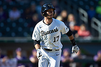 Bruce Steel (17) of the Wake Forest Demon Deacons hustles down the first base line against the Furman Paladins at BB&T BallPark on March 2, 2019 in Charlotte, North Carolina. The Demon Deacons defeated the Paladins 13-7. (Brian Westerholt/Four Seam Images)