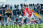 Stack's Shane Guthrie and WKerry's Jason Hickson and Cian O'Murchu at the Austin Stacks V West Kerry in the Garveys Supervalu Senior CountyFootball Championship - round 3 at Austin Stacks park on Saturday