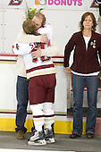 Ken Stack, Kelli Stack (BC - 16), Nancy Stack - The Boston College Eagles and the visiting University of New Hampshire Wildcats played to a scoreless tie in BC's senior game on Saturday, February 19, 2011, at Conte Forum in Chestnut Hill, Massachusetts.