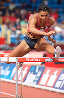 Alicia Barrett of Great Britain competing in the Women's 100m Hurdles during the Muller Grand Prix  IAAF Diamond League meeting at Alexander Stadium, Perry Barr, Birmingham.<br /> Picture by Alan Stanford +44 7915 056117<br /> 18/08/2018