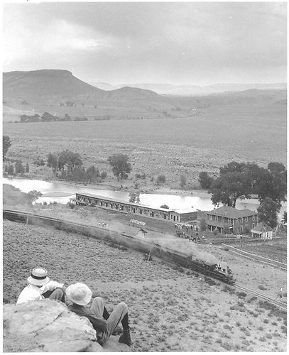 D&amp;RG passenger train at Sapinero Resort / Sportsman Hotel.<br /> D&amp;RG  Sapinero Resort, CO