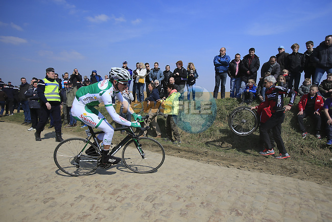 Riders including Maxime Daniel (FRA) Sojasun tackle pave section 25 of Quievy a Saint-Python during the 111th edition of the 2013 Paris-Roubaix cycle race, France 7th April2013 (Photo by Eoin Clarke 2013)