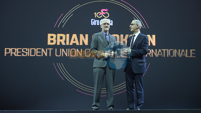 UCI President Brian Cookson speaks on stage at the 100th edition Giro d`Italia 2017 route presentation held at the Ice Palace in Milan, 25th October 2016.<br /> Picture: ANSA/Claudio Peri | Newsfile<br /> <br /> <br /> All photos usage must carry mandatory copyright credit (&copy; Newsfile | ANSA/Claudio Peri)