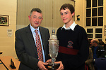 Ceremony Co-ordinator Joe Sweeney presents The Sean Higgins Memorial Award to David Phelan at the School Awards Ceremony in St.Mary's School...(Photo credit should read Jenny Matthews www.newsfile.ie)....This Picture has been sent you under the conditions enclosed by:.Newsfile Ltd..The Studio,.Millmount Abbey,.Drogheda,.Co Meath..Ireland..Tel: +353(0)41-9871240.Fax: +353(0)41-9871260.GSM: +353(0)86-2500958.email: pictures@newsfile.ie.www.newsfile.ie.