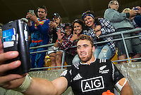 Joe Webber takes a selfie with fans after the New Zealand All Blacks Sevens cup final victory on Day Two during the 2016 HSBC Wellington Sevens at Westpac Stadium, Wellington, New Zealand on Sunday, 31 January 2016. Photo: Joseph Johnson / lintottphoto.co.nz