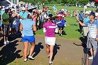 So Yeon Ryu (KOR) and Mirim Lee (KOR) head to the 16th tee during Sunday's final round of the 72nd U.S. Women's Open Championship, at Trump National Golf Club, Bedminster, New Jersey. 7/16/2017.<br /> Picture: Golffile | Ken Murray<br /> <br /> <br /> All photo usage must carry mandatory copyright credit (&copy; Golffile | Ken Murray)