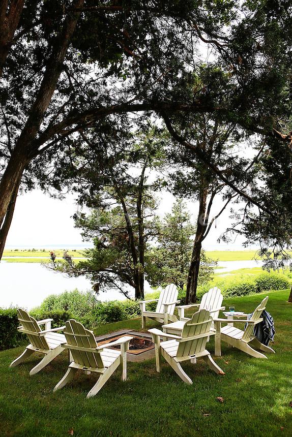 white deck chairs