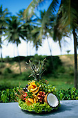 Sauipe, Brazil. Display of fresh fruits; pineapple, papaya, orange, guava, grapes, cocnut.