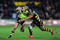 Robbie Henshaw of Leinster Rugby takes on the Northampton Saints defence. European Rugby Champions Cup match, between Northampton Saints and Leinster Rugby on December 9, 2016 at Franklin's Gardens in Northampton, England. Photo by: Patrick Khachfe / JMP