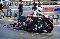 Jul. 17, 2010; Sonoma, CA, USA; NHRA pro stock motorcycle rider James Surber during qualifying for the Fram Autolite Nationals at Infineon Raceway. Mandatory Credit: Mark J. Rebilas-