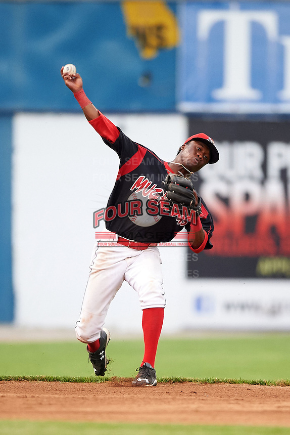 Batavia Muckdogs shortstop Anfernee Seymour (3) throws to first during a game against the Mahoning Valley Scrappers on June 22, 2015 at Dwyer Stadium in Batavia, New York.  Mahoning Valley defeated Batavia 15-11.  (Mike Janes/Four Seam Images)