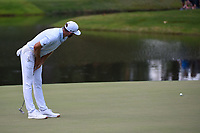 Dustin Johnson (USA) reacts to barely missing his birdie putt on 9 during round 3 of the WGC FedEx St. Jude Invitational, TPC Southwind, Memphis, Tennessee, USA. 7/27/2019.<br /> Picture Ken Murray / Golffile.ie<br /> <br /> All photo usage must carry mandatory copyright credit (© Golffile | Ken Murray)